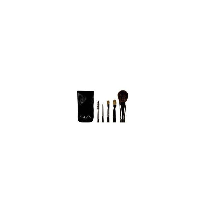 REF:  89714 Un jeu de 5 pinceaux professionnels essentiels pour une application parfaite du maquillage dans une trousse plate